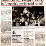 China Daily, 18.11.2014 - Etnic german victorie in alegerile prezidentiale din Romania